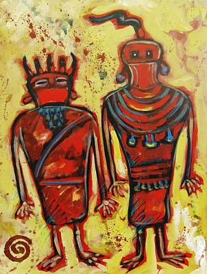 Petroglyph Painting - Fremont People by Carol Suzanne Niebuhr
