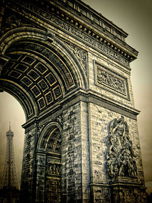 Photograph - French - Arc De Triomphe And Eiffel Tower by Lee Dos Santos