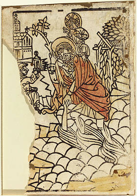 Saint Christopher Drawing - French 15th Century, Saint Christopher Recto by Quint Lox