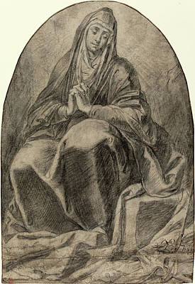 Wash Drawing - French 17th Century, The Grieving Virgin Contemplating by Litz Collection