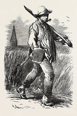 Labourer Drawing - French Agricultural Labourer by English School
