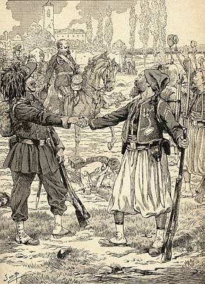 French And Sardinian Soldiers Shaking Hands To Celebrate Their Victory Against The Austrians Art Print