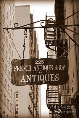 Photograph - French Antique Shop Sign - Sepia by Carol Groenen