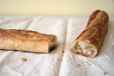 Bread Photograph - French Baguette Yellow Wall by Beverly Brown