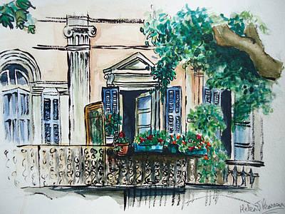 French Balcony Art Print by Helen J Pearson