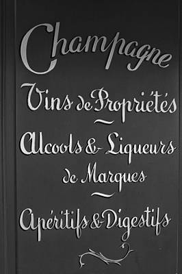 French Signs Photograph - French Bar Sign In Mono by Georgia Fowler