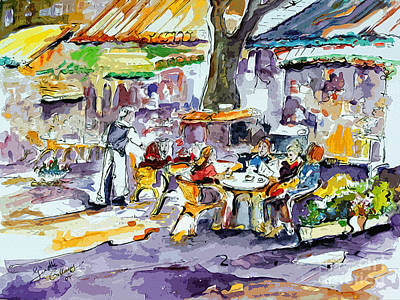 People Mixed Media - French Bistro Street Scene by Ginette Callaway