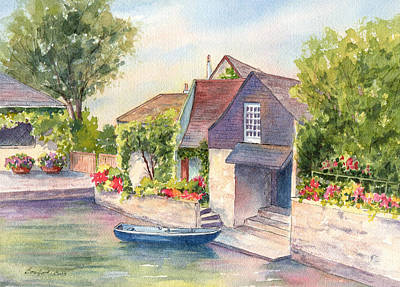 Painting - French Boathouse  Azay Le Rideau by Vikki Bouffard