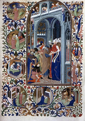 1420 Painting - French Book Of Hours Marriage Of Virgin by Granger