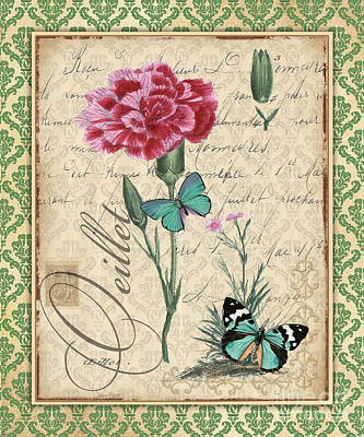 Baroque Mixed Media - French Botanical Damask-c by Jean Plout