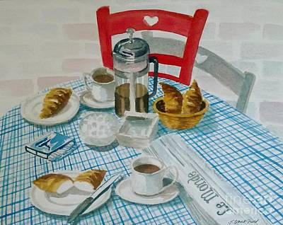 Checked Tablecloths Painting - French Breakfast by Julie Jules Grant-Field
