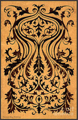 Fleur De Lis Drawing - French Brocade Fleur De Lis. Burnished Black And Red by Pierpont Bay Archives
