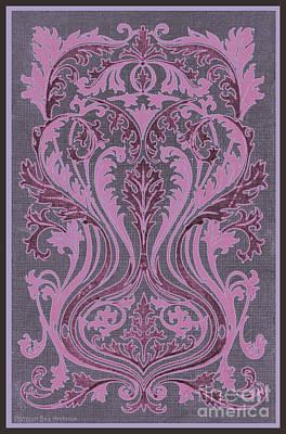 Fleur De Lis Drawing - French Brocade Fleur De Lis. Mauve And Burgundy.  by Pierpont Bay Archives
