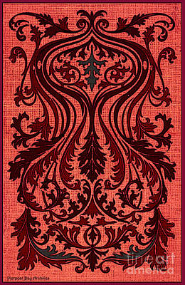 Fleur De Lis Drawing - French Brocade Fleur De Lis. Red And Steel Gray by Pierpont Bay Archives