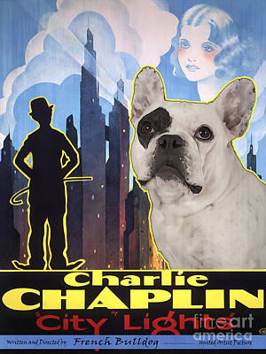 Painting - French Bulldog Art - City Light Movie Poster by Sandra Sij