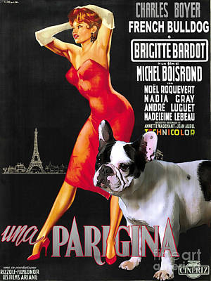 Painting - French Bulldog Art - Una Parigina Movie Poster by Sandra Sij