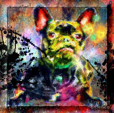 Dog Close-up Painting - French Bulldog by Daniel Janda