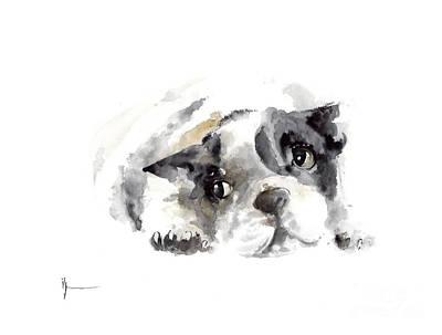 French Bulldog Original Painting Watercolor Art Print Original by Joanna Szmerdt