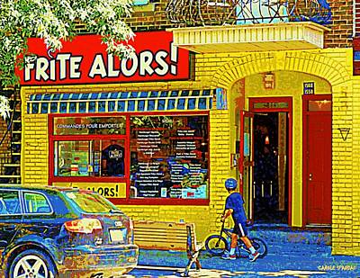 Patates Frites Painting - French Cafe Frite Alors Sandwich And Fries Shop Rue Laurier Montreal City Scene Art Carole Spandau by Carole Spandau