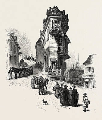 Levis Drawing - French Canadian Life, Old Houses At Point Levis by Canadian School