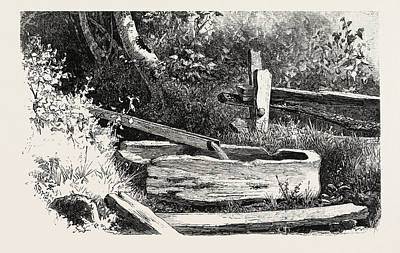 Manger Drawing - French Canadian Life, Wayside Watering Trough by Canadian School