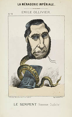 Caricature Photograph - French Caricature - Le Serpent by British Library