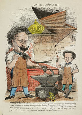 French Caricature - Maitr Et Apprenti Art Print