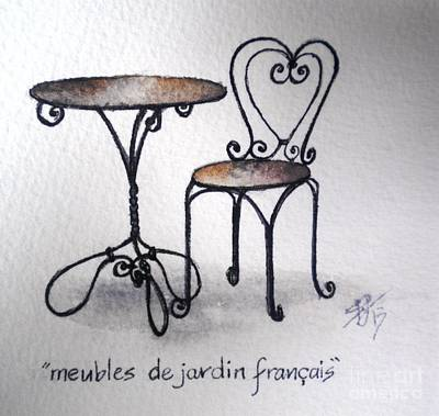 French Chair And Table Art Print