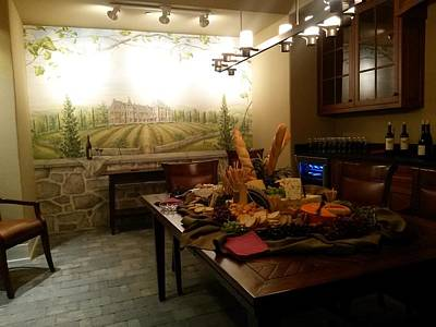 Wine Cellar Mixed Media - French Chateau Mural by Holly Fields-Scott
