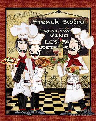 Wine Bottle Painting - French Chefs-bistro by Jean Plout