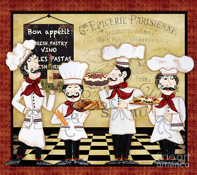 Wine-bottle Painting - French Chefs-bon Appetit by Jean Plout