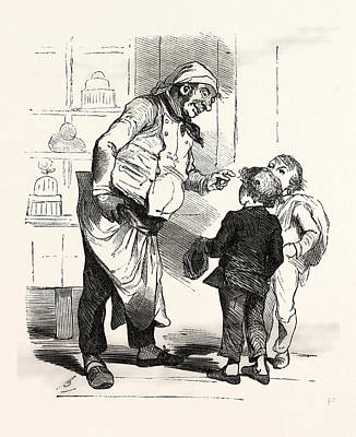 French Cook Talking With Two Children, Europe Art Print by French School