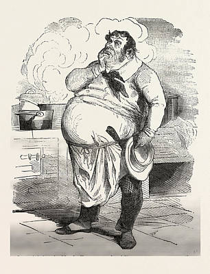 French Cook Thinking About A New Sauce, Europe Art Print by French School