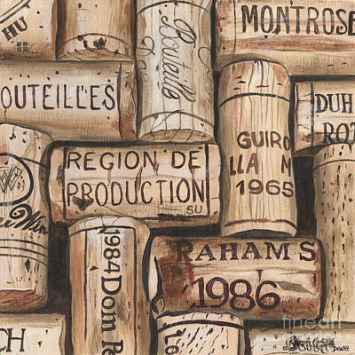 Wine Glass Painting - French Corks by Debbie DeWitt