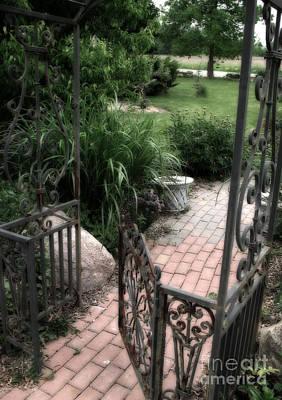 French Cottage Garden Arbor And Gate - French Cobblestone Brick Garden Path Art Print