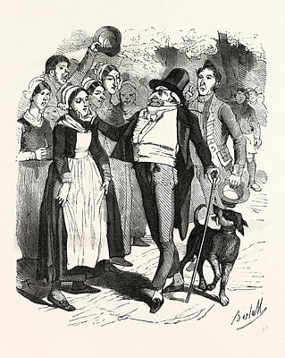 Cartoonist Drawing - French Count And His Dog On A Walk In The Village by French School