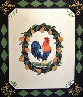 Painting - French Country Rooster With Pears by Cindy Micklos