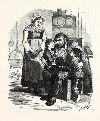 French Family In The Kitchen, France. Interior, Kitchen Art Print by French School