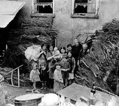 French Family Outside Their Home Art Print