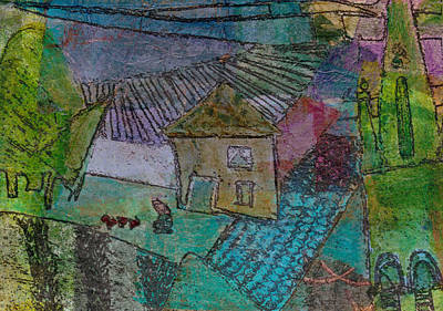 Art Print featuring the mixed media French Farm by Catherine Redmayne