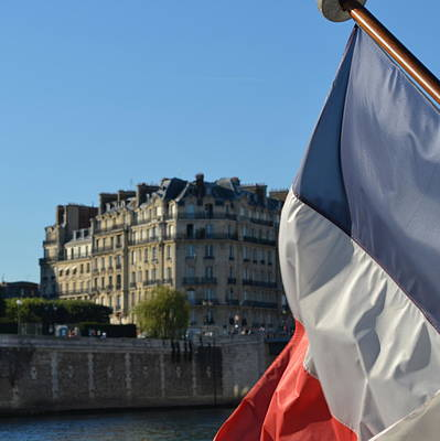 Photograph - French Flag . River Seine by Cheryl Miller