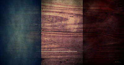 Aged Wood Digital Art - French Flag I by April Moen