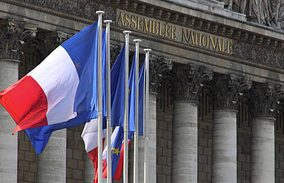 French Flags At The National Assembly Print by William Sutton