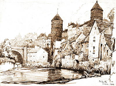 French Fortified Town 1922 Art Print by Padre Art