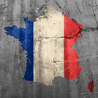 Cracks Mixed Media - French France Flag Country Outline Painted On Old Cracked Cement by Design Turnpike