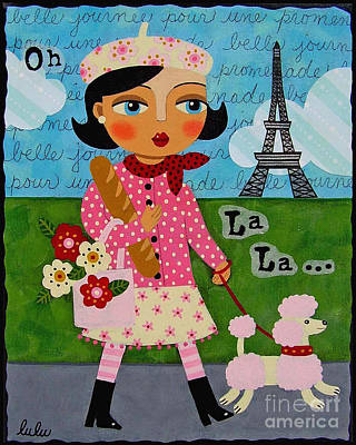 Beret Painting - French Girl Walking Pink Poodle by LuLu Mypinkturtle
