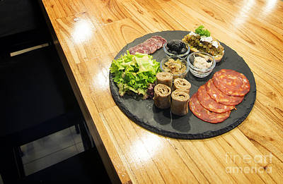 Wooden Platter Photograph - French Gourmet Snack Foods Mixed Platter On Wooden Table by Jacek Malipan