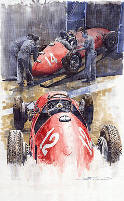 500 Painting - French Gp 1952 Ferrari 500 F2 by Yuriy  Shevchuk