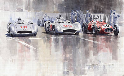 1954 Painting - French Gp 1954 Mb W 196 Meserati 250 F by Yuriy  Shevchuk