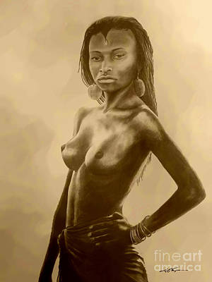 Indigenous Culture Drawing - French Guinea Girl by Joel Thompson